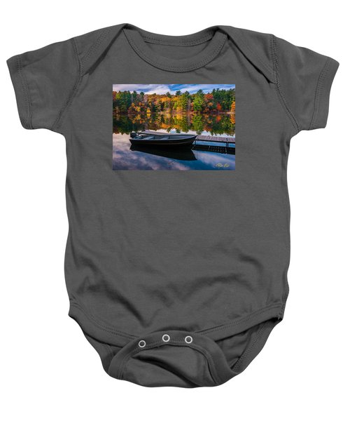 Fishing Boat On Mirror Lake Baby Onesie