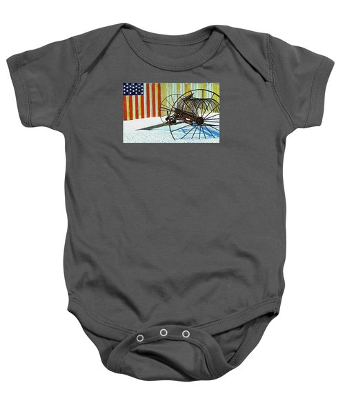 Flag And The Wheel Baby Onesie