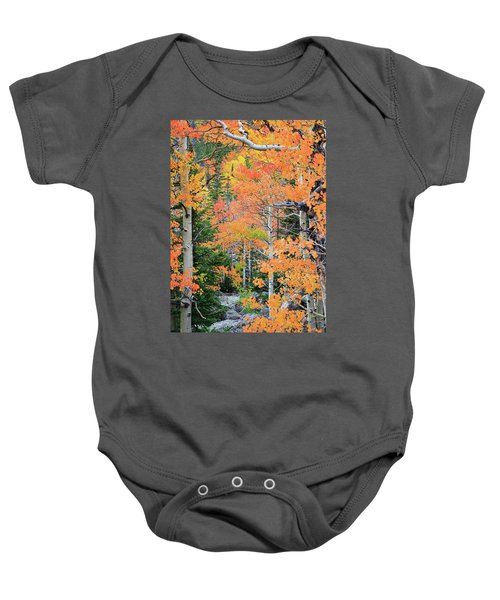 Baby Onesie featuring the photograph Flaming Forest by David Chandler