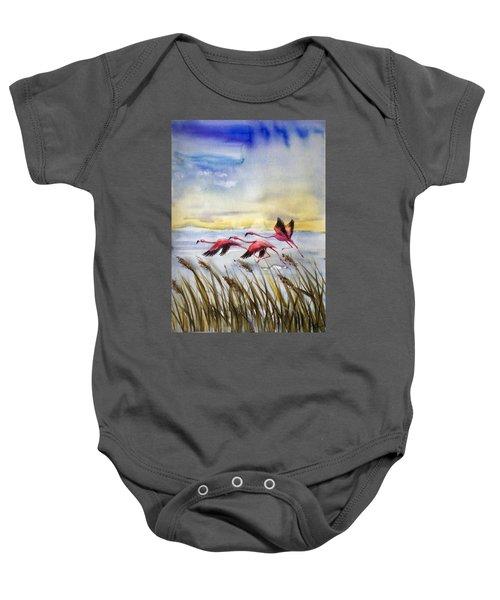 Flamingoes Flight Baby Onesie