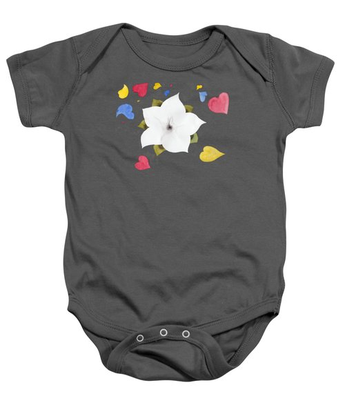 Baby Onesie featuring the painting Fleur Et Coeurs by Marc Philippe Joly