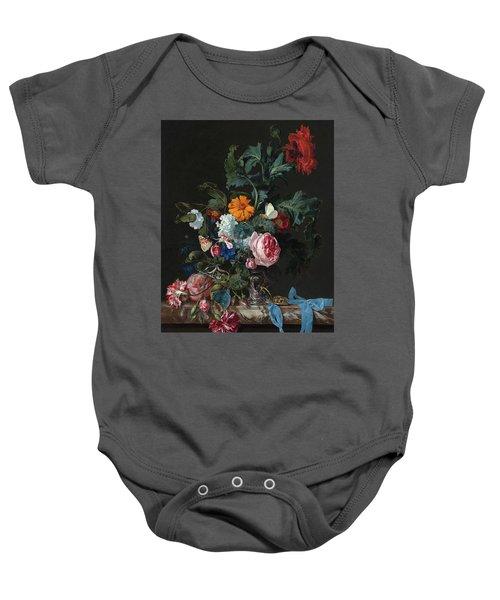 Flower Still Life With A Timepiece Baby Onesie
