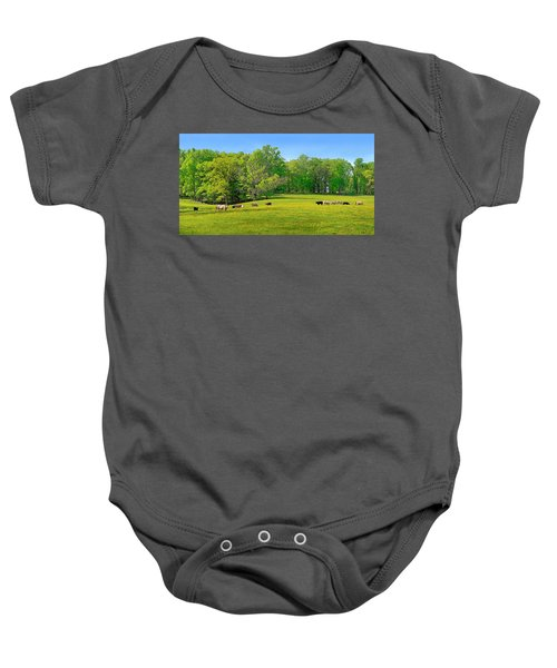 Flowering Cow Pasture Baby Onesie