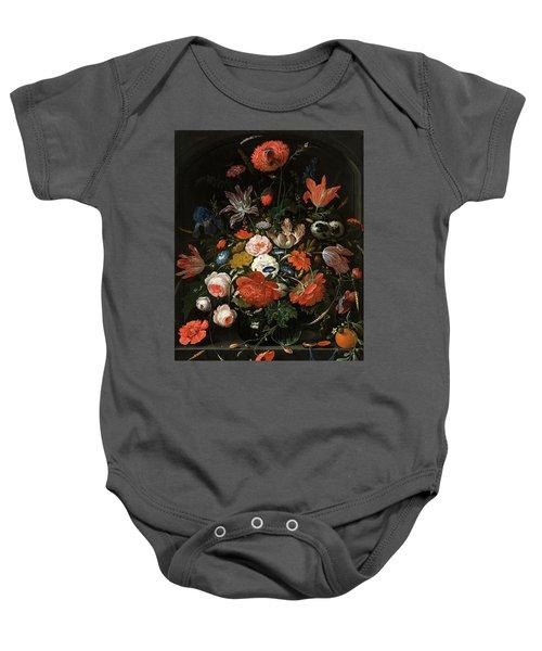 Flowers In A Glass Vase Baby Onesie
