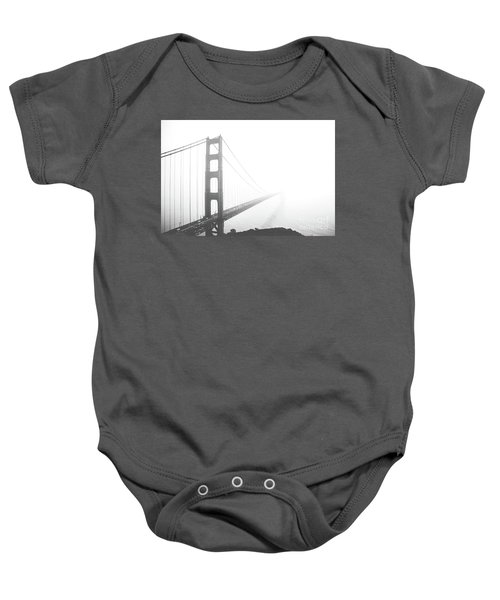 Baby Onesie featuring the photograph Foggy Golden Gate Bridge  by MGL Meiklejohn Graphics Licensing