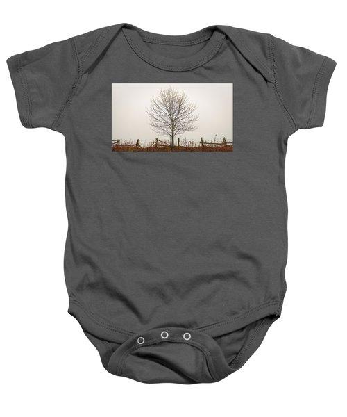 Foggy Lone Tree Hill Baby Onesie
