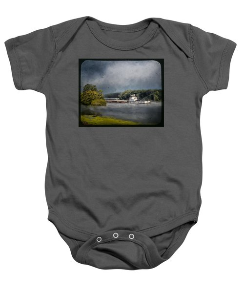 Foggy Morning At The Barge Harbor Baby Onesie