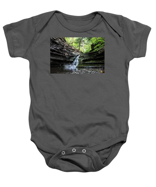 Baby Onesie featuring the photograph Forest Waterfall by MGL Meiklejohn Graphics Licensing