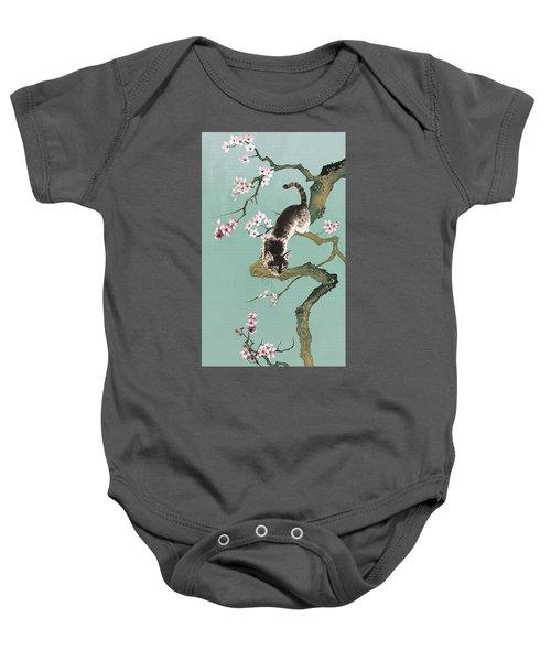 Fortune Cat In Cherry Tree Baby Onesie