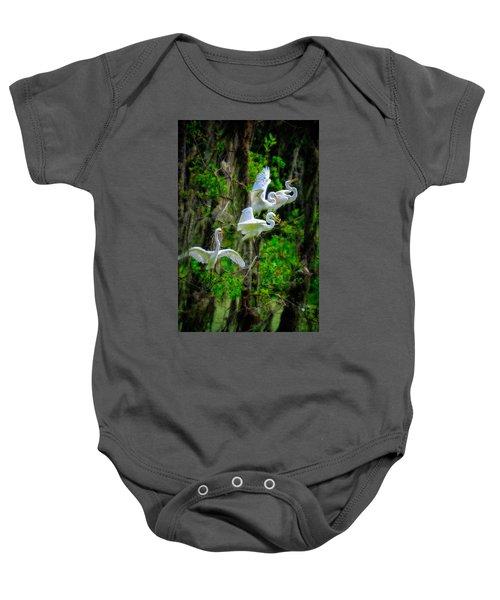 Four Egrets Baby Onesie