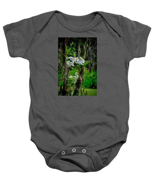Four Egrets In Tree Baby Onesie
