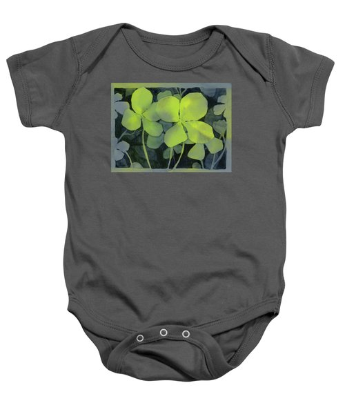 Four Leaf Clover Watercolor Baby Onesie