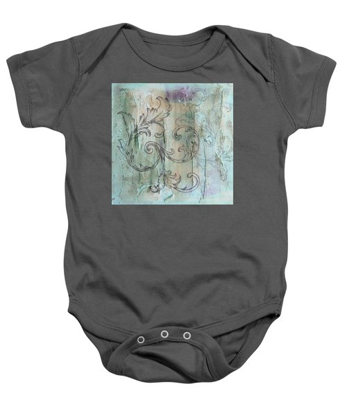French Country Scroll In Muted Blue Baby Onesie