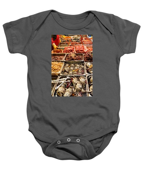 Fresh Meat And Fish Marketplace Baby Onesie