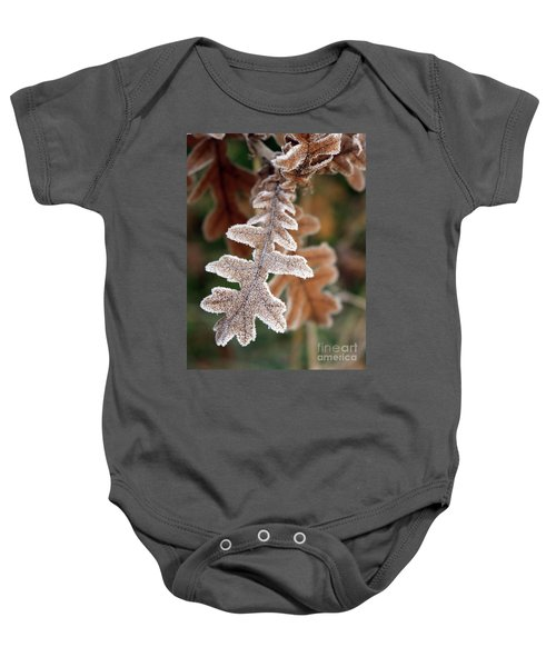 Frost Covered Oak Leaf Baby Onesie
