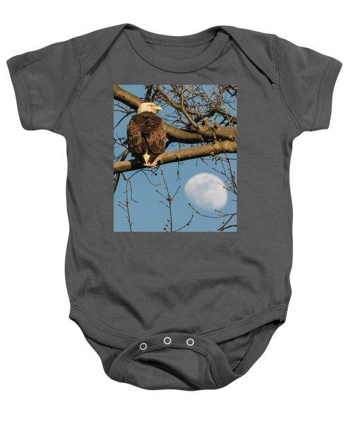 Full Moon Eagle  Baby Onesie