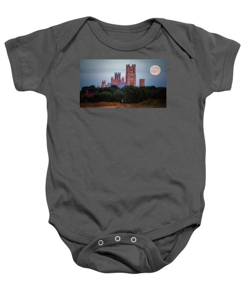 Full Moon Over Ely Cathedral Baby Onesie