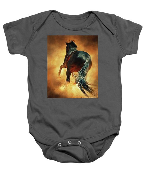 Galloping Horse In Fire Dust Baby Onesie