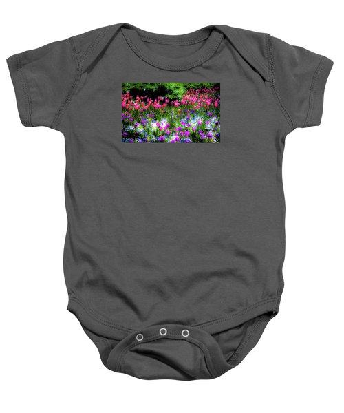 Garden Flowers With Tulips Baby Onesie