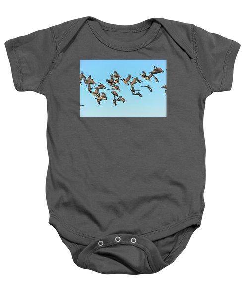 Geese In Flight Baby Onesie