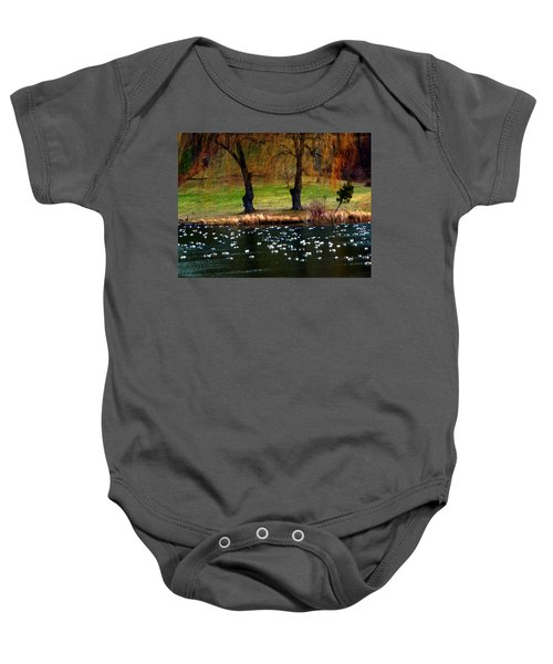 Geese Weeping Willows Baby Onesie