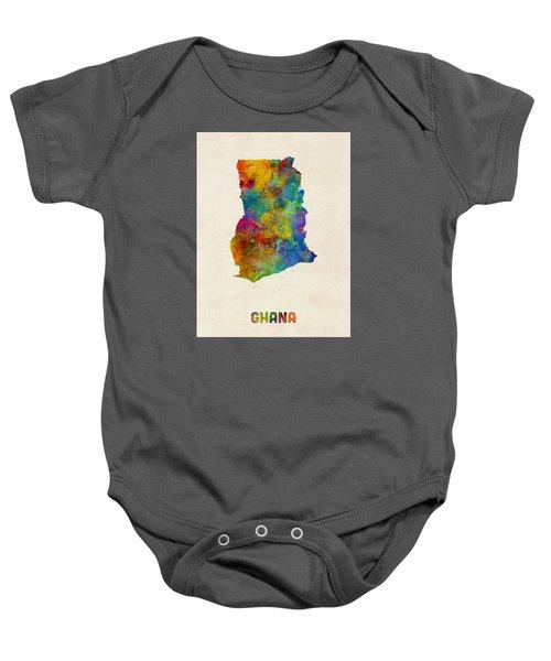 Ghana Watercolor Map Baby Onesie