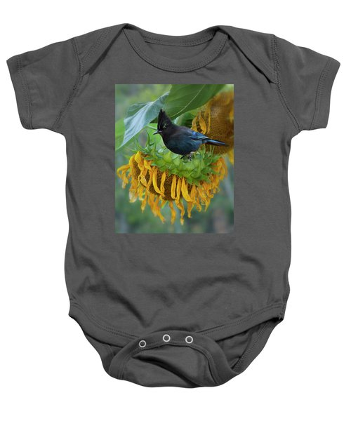 Giant Sunflower With Jay Baby Onesie