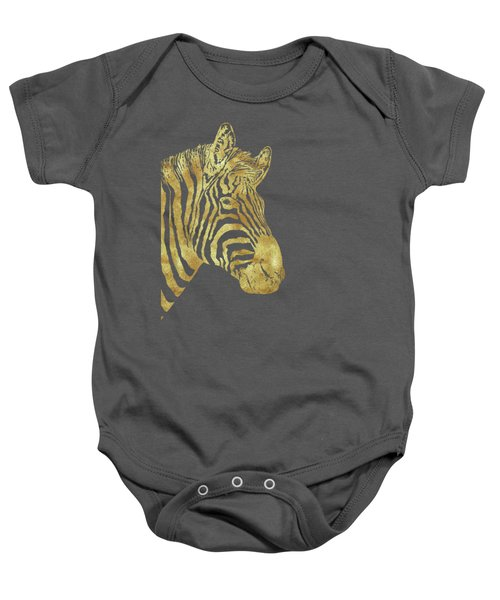 Gilt Zebra, African Wildlife, Wild Animal In Painted Gold Baby Onesie by Tina Lavoie