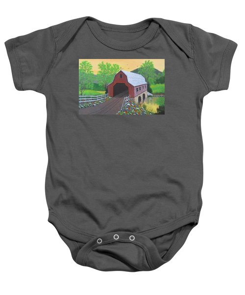 Glenda's Covered Bridge Baby Onesie