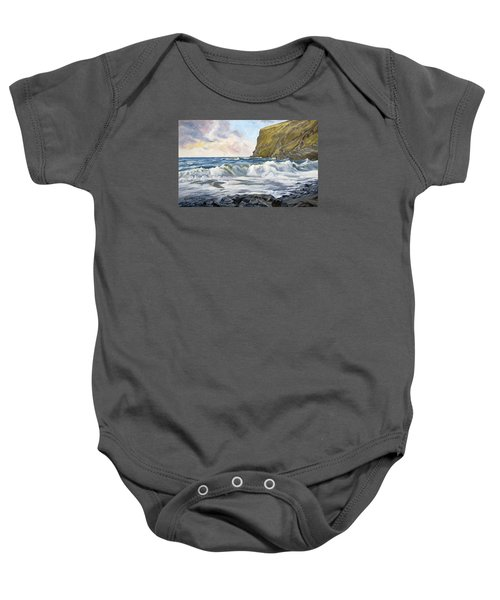 Baby Onesie featuring the painting Glowing Sky At Pencannow Point by Lawrence Dyer