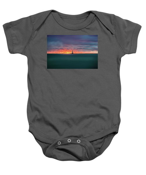 Glowing Sunset On Lake With Lighthouse Baby Onesie