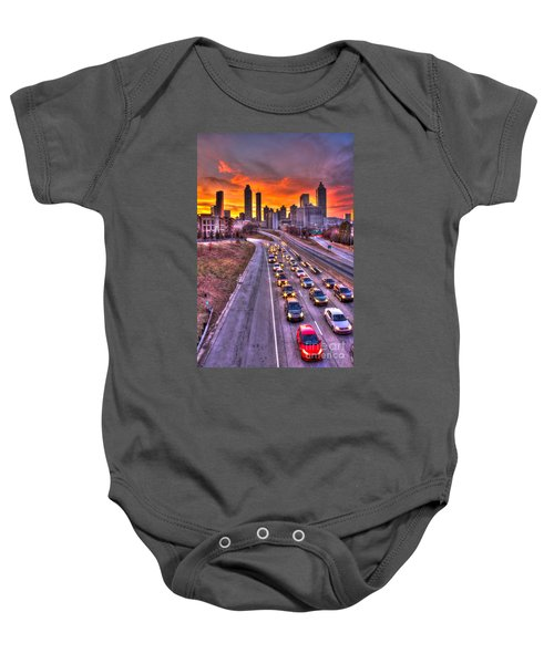 Going Nowhere Fast 2 Atlanta Sunset Traffic Baby Onesie