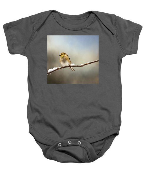 Goldfinch After A Spring Snow Storm Baby Onesie