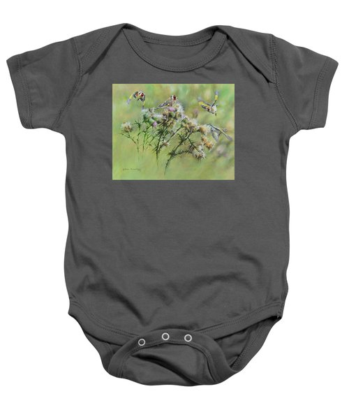 Goldfinches On Thistle Baby Onesie
