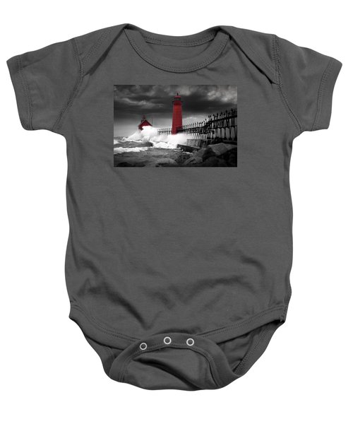 Grand Haven Lighthouse In A Rain Storm Baby Onesie