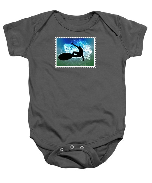 Graphic Surfer In Green And Blue Ocean Foam Baby Onesie