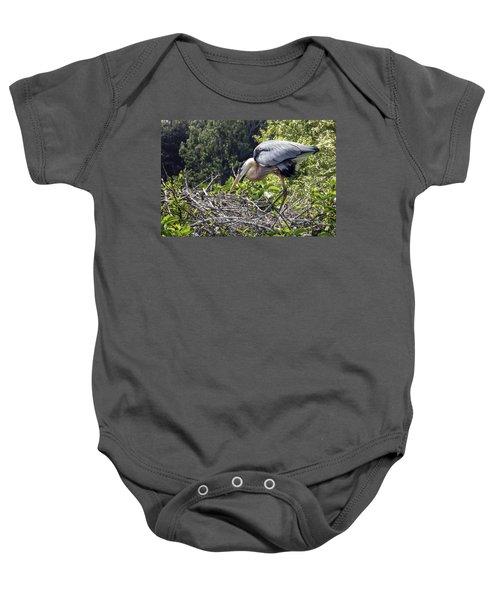 Great Blue Heron On Nest Baby Onesie