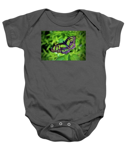 Green And Black Butterfly Baby Onesie