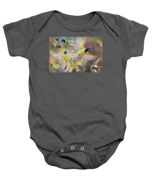 Green Jay Collage Baby Onesie