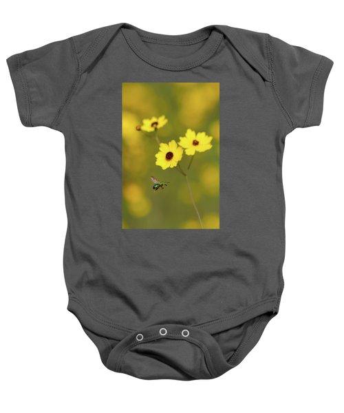 Green Metallic Bee Baby Onesie