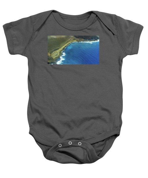 Green Sand Beach Aerial Baby Onesie