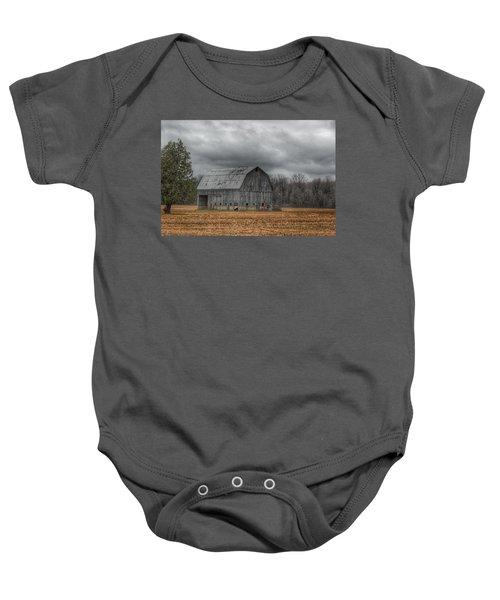 0024 - Grey Barn And Tree Baby Onesie