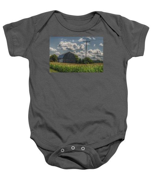 0013 - Grey Barn In A Cornfield Baby Onesie