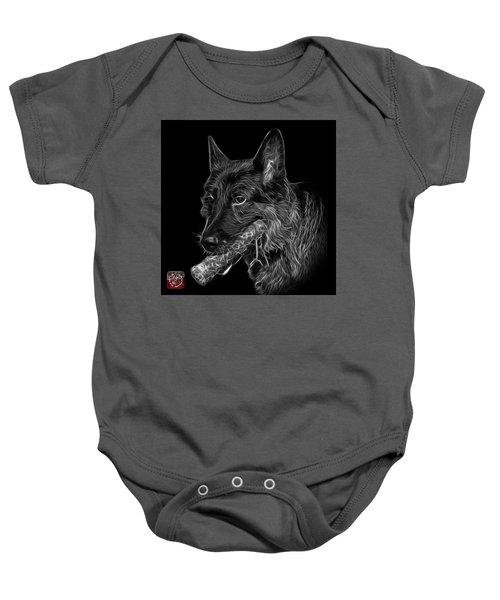 Greyscale German Shepherd And Toy - 0745 F Baby Onesie