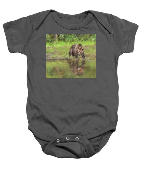 Grizzly Bear At Water's Edge Baby Onesie
