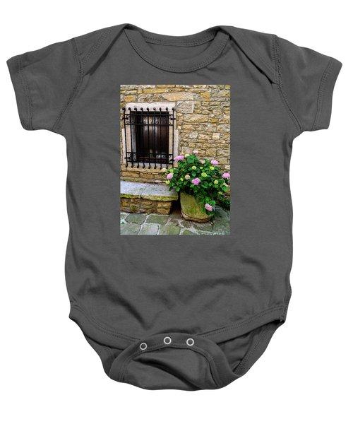 Groznjan Istrian Hill Town Stonework And Flowerpot - Istria, Croatia Baby Onesie