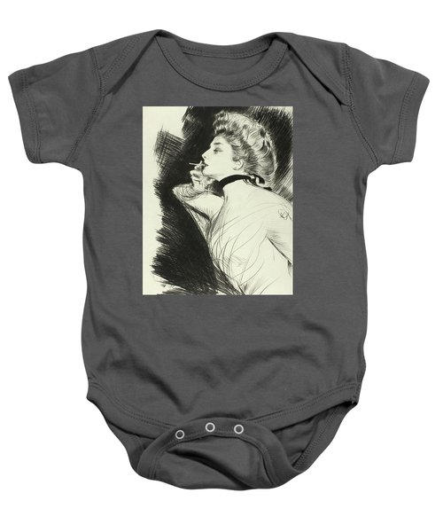 Half Length Portrait Of A Seated Woman, Smoking A Cigarette, Facing Left Baby Onesie