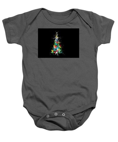 Happy Holidays - Abstract Tree - Horizontal Baby Onesie