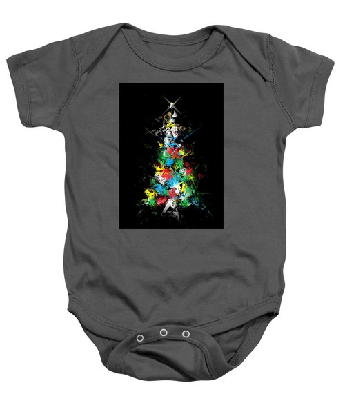 Happy Holidays - Abstract Tree - Vertical Baby Onesie