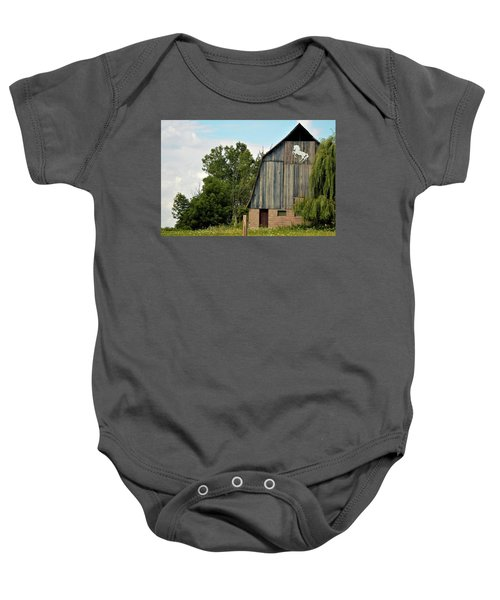 0017 - Hassler Lake Road Horse Barn Baby Onesie
